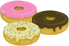 Three yummy donuts. With icing stock illustration