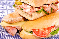Three yummy sandwich Royalty Free Stock Images