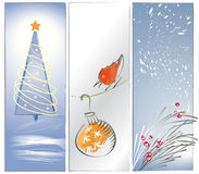 Three Zen Christmas Backgrounds or Banners. 3 Panel illustrations in a loose, brushy, artistic sumi-e style with Christmas theme: red bird looking at Christmas Stock Image