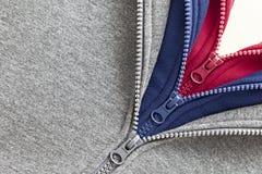 Three zippers Stock Photos