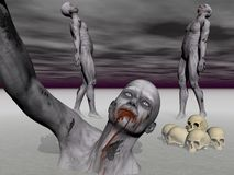 Three Zombies In Big Suffering - 3d Render Stock Image