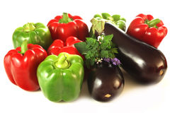 Threecoloured vegetables Stock Photo