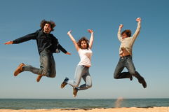 Threefold jump. Stock Images