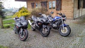 Threemotorcycles de Suzuki GS 500 et de Honda CBR 600 Suzuki GSX-R 600 Photos stock