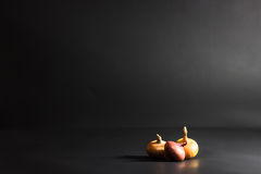 Threeonions on a black background Stock Images