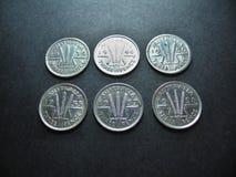 Threepence do australiano da prata do vintage das moedas Foto de Stock