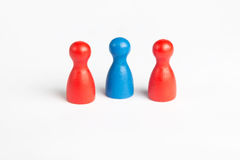 Threesome concept with game figurines. On white Stock Photo