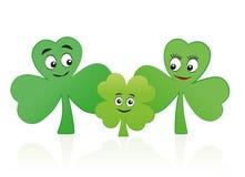 Threesome de Lucky Child Clover Leaf Family Foto de archivo libre de regalías