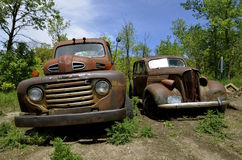 Ford truck and old car parked in a meadow Royalty Free Stock Photo