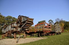 Threshing machine and racks Stock Photos