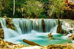 Threshold Kuang Si Waterfall. Laos. Luang Prabang stock photos