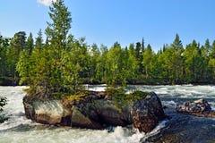 Threshold Padun. Umba River, The Kola peninsula, Russia Stock Images
