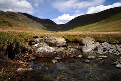 Threshthwaite Mouth. Pool on Trout Beck and the valley Royalty Free Stock Image