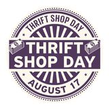 Thrift Shop Day, August 17. Rubber stamp, vector Illustration royalty free illustration