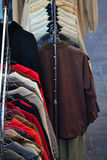 Thrift shop. Old dresses and clothes Royalty Free Stock Photos