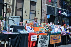 Thrift Shop is Open. Members of the Maspeth Senior Center, selling handmade arts and crafts articles in an effort to raise money, during the 2012 Annual Street Royalty Free Stock Image