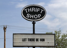 Thrift shop sign offers hope Stock Photography