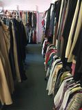 Thrift store. Racks of garments in a thrift store Stock Photos
