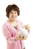 Thrifty Cross-Dresser Saving Money Royalty Free Stock Image