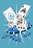Thrill of the Chase. Poker chips, dice and playing cards. Party time royalty free illustration