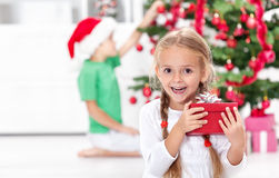 The thrill of christmas in childhood Stock Images