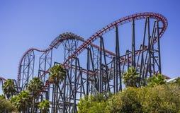 Thrill ride in Six Flag. Magic Mountain Stock Photo