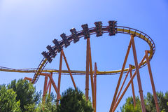 Thrill ride in Six Flag. Magic Mountain Stock Image