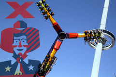 Thrill rides and top of Texas tower at State Fair Royalty Free Stock Image
