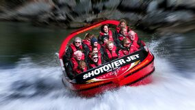 Thrill seekers. Shotover Jet. Royalty Free Stock Image