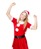 Thrill woman with Christmas dress Stock Photos