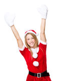Thrill woman with xmas dress and white gloves Stock Photos