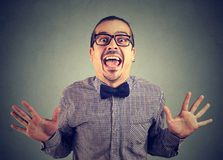 Thrilled crazy man excited with success stock photos
