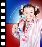 Overjoyed nerd woman at 3D movie premier Royalty Free Stock Photos