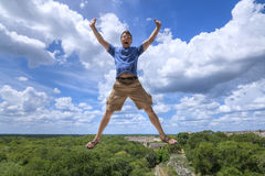 Thrilled tourist in Maya culture Stock Images
