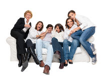 Thrilled TV audience Royalty Free Stock Photos