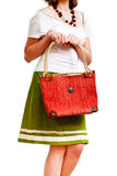 Thrilled woman with a bag Royalty Free Stock Images
