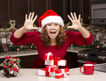 Thrilled woman during Christmas Royalty Free Stock Images