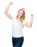 Thrilled woman with christmas hat Stock Photography