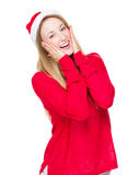 Thrilled woman with christmas hat Royalty Free Stock Photo