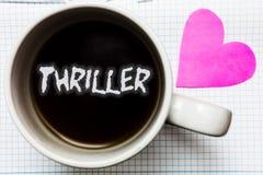 Thriller des textes d'écriture de Word Le concept d'affaires pour refroidir des moments terribles dans la catégorie de film et de Photographie stock libre de droits
