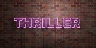 THRILLER - fluorescent T.L.-buisteken op metselwerk - vooraanzicht - 3D teruggegeven royalty vrij voorraadbeeld vector illustratie