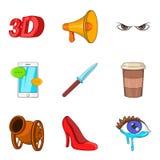 Thriller icons set, cartoon style. Thriller icons set. Cartoon set of 9 thriller vector icons for web isolated on white background Stock Photos
