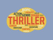 THRILLER - image with words associated with the topic MOVIE, word, image, illustration stock photography