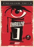 Thriller movies marathon retro poster design idea. Film and cinema movie poster with eye graphic and mystic room door. Vector illustration Royalty Free Stock Images