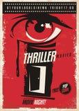 Thriller movies marathon retro poster design idea royalty free illustration