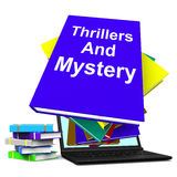 Thrillers and Mystery Book Laptop Shows Genre Fiction Books Stock Photography