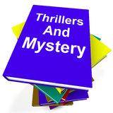 Thrillers and Mystery Book Stack Shows Genre Stock Photos