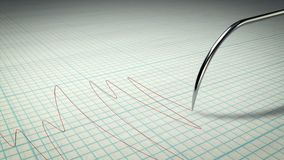 Detertor of Lie on a Sheet with Cells. A thrilling 3d illustration of a lie detector with a metallic stylus writing a curvy line on a paper for school copybooks Royalty Free Stock Photo