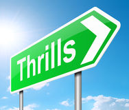 Thrills sign. Illustration depicting a sign with a thrills concept Stock Image