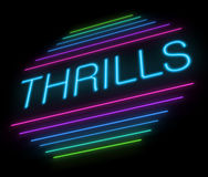 Thrills sign. Illustration depicting an illuminated neon thrills sign Royalty Free Stock Image